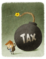 Businessman with Huge Tax Bomb behind