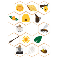 vector format. set of icons for beekeepers