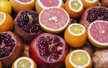 Ripe pomegranates and grapefruits