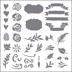 Set of plant elements for design.