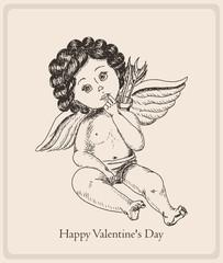 Postcard Happy Valentine's Day with the boy-angel
