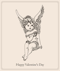 Postcard Happy Valentine's Day with the girl-angel