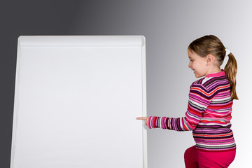 Girl Pointing at Message Board