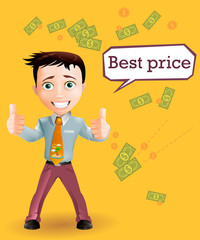 Business boy talking about the best price