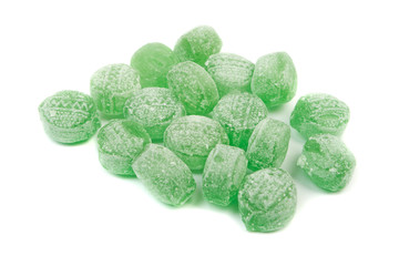 Green mints candy isolated on white background