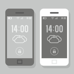 Two smartphone  - black and white