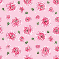 watercolor rose and brunch pattern
