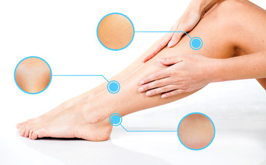 Legs skin care, infographic arrows