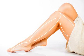 Legs skin care, surgery arrows
