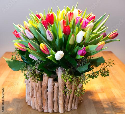 Poster Tulp Bunter Frühlingstulpenstrauß