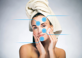 Skin care and healthy face with infographic arrows