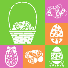 Easter eggs set, with basket, flowers and bows