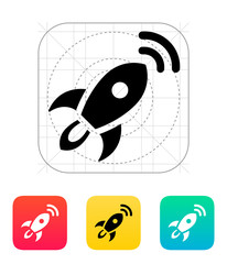 Rocket with radar icon on white background.