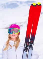 Sportive woman with ski
