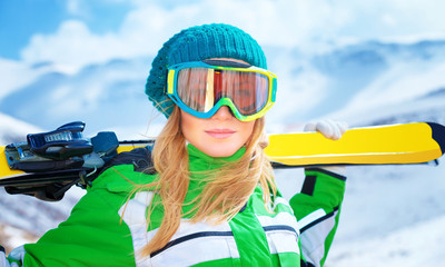 Portrait of skier girl