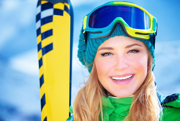 Happy skier girl portrait