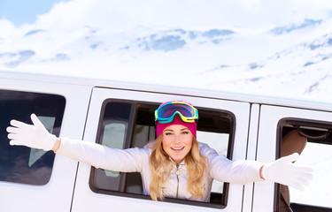 Happy woman enjoy winter holidays