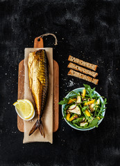 Smoked mackerel, fresh salad, croutons on black from above