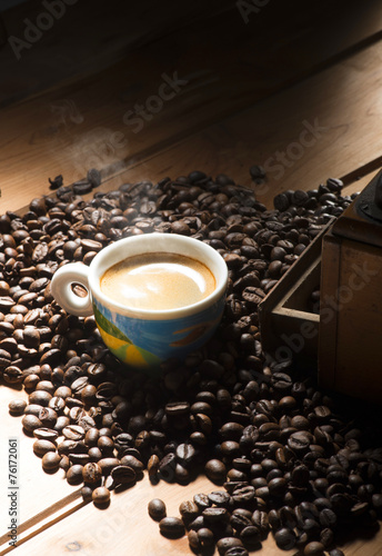 Fotobehang Cafe cup of coffee on the wooden table