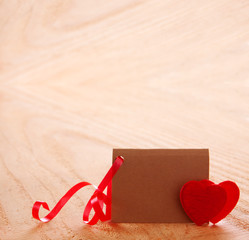 Valentine's Day card and two hearts.