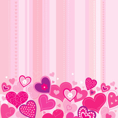 Pink background with hearts Valentines Day
