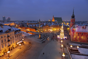Warsaw,Castle square in the Christmas holidays