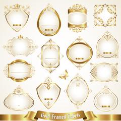 White gold-framed labels set 6