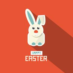 Easter Paper Flat Design Bunny Vector Illustration