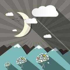 Flat Design Vector Mountains and Moon Landscape Illustration