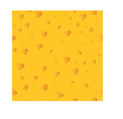 Seamless cheese pattern with heart shaped holes
