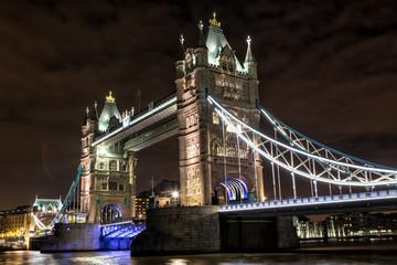 Tower Bridge at night in London