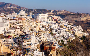 View of Fira in the evening on Santorini.