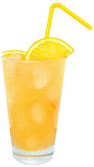 Cocktail with orange juice and ice cube