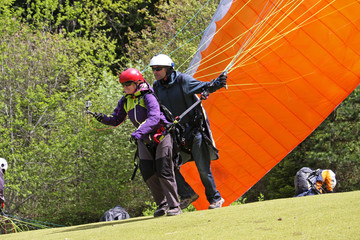 Tandem Paraglider launching