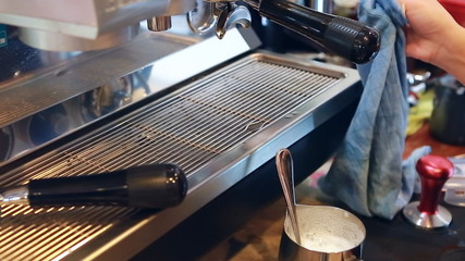 Make coffee in cafe shop