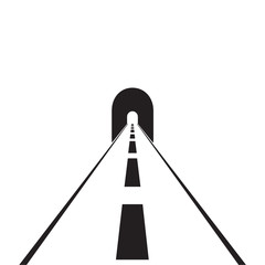 road with tunnel web flat icon