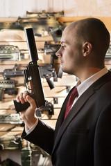 Bald hitman with the gun