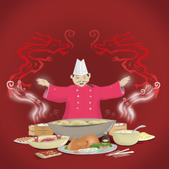 Chinese Cuisine and Chef with Dragon Smoke.