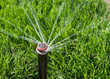 Automatic sprinkler spraying water onto green grass - 76176604