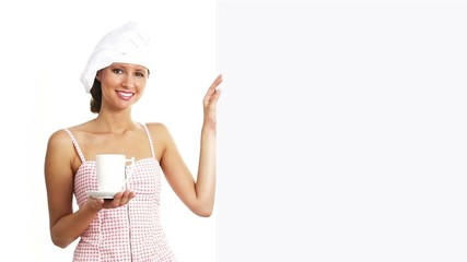 chef woman with cup showing indicate billboard