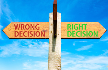Right Decision and Wrong Decision, Right choice conceptual image