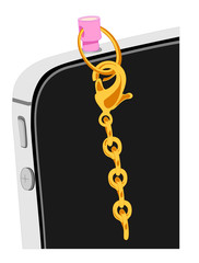 Detail of a mobile phone with a gold chain