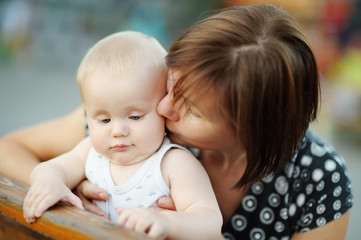 Middle aged woman and her adorable little grandson