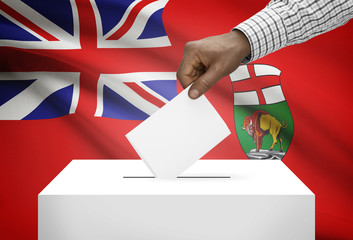 Ballot box with Canadian province flag on background - Manitoba