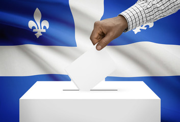 Ballot box with Canadian province flag - Quebec