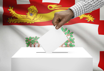 Ballot box with Canadian province flag - Prince Edward Island
