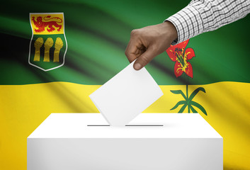 Ballot box with Canadian province flag - Saskatchewan