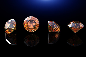 Round shape gemstone. Collections of jewelry gems on black