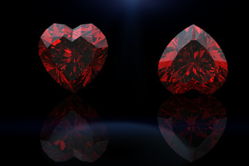 Heart shape gemstone. Collections of jewelry gems on black