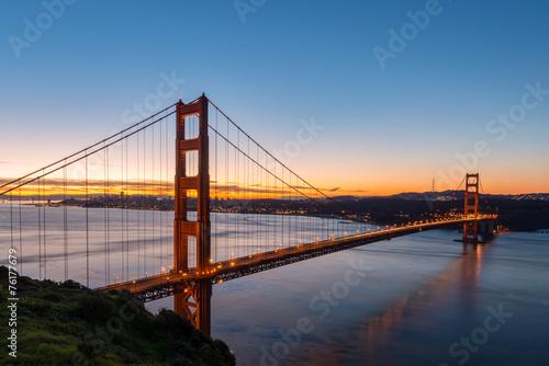 Plakát, Obraz Golden Gate Bridge at Dawn